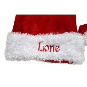 Nissehue med navn i jersey til stol Julerød Nissehuer